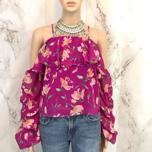 Floral Print Cold Shoulder Gathered Top